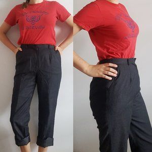 1990's Charcoal Grey Knit Wool Lined Trousers